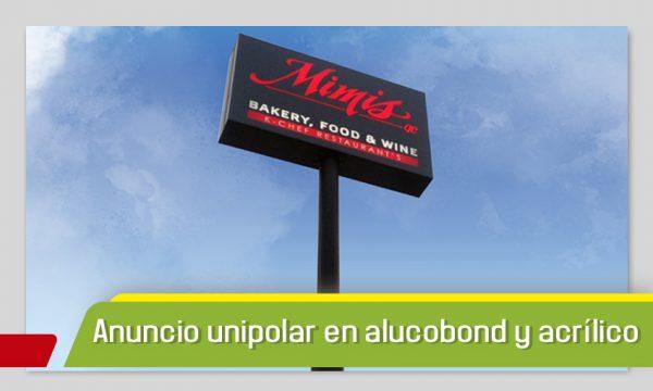 ANUNCIO UNIPOLAR EN ALUCOBOND Y ACRÍLICO
