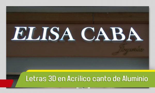 LETRAS 3D EN ACRÍLICO Y CANTO DE LAMINA CON CAPA DE PINTURA