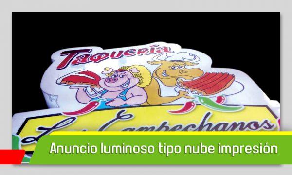 ANUNCIO LUMINOSOS TIPO NUBE ACRÍLICO E IMPRESIÓN
