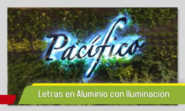 LETRAS EN ALUMINIO CON CAPA DE PINTURA E ILUMINACIÓN