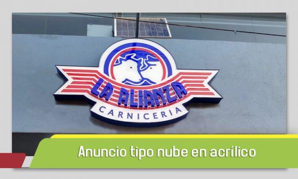 ANUNCIO EN ACRÍLICO TIPO NUBE